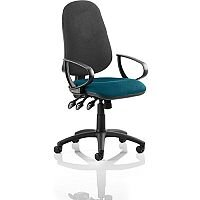Eclipse XL III Lever Task Operator Office Chair With Loop Arms Black Back Kingfisher Green Seat