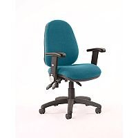 Luna III Lever Task Operator Office Chair With Height Adjustable & Folding Arms In Kingfisher Green