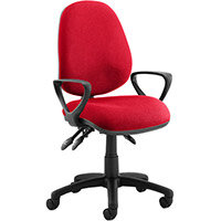 Luna III Lever Task Operator Office Chair With Loop Arms In Cherry Red