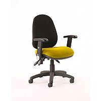 Luna III Lever Task Operator Office Chair With Height Adjustable & Folding Arms Black Back Sunset Yellow Seat