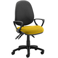 Luna III Lever Task Operator Office Chair With Loop Arms Black Back Sunset Yellow Seat
