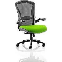 Houston Heavy Duty Task Operator Office Chair Black Mesh Back Swizzle Green Seat