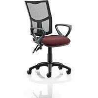 Eclipse II Lever Task Operator Office Chair With Loop Arms Mesh Back Chilli Red Seat