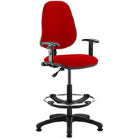 Eclipse I Lever Task Operator Office Chair Cherry Red With Height Adjustable Arms & Draughtsman Kit