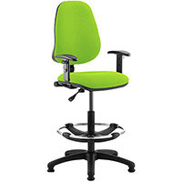 Eclipse I Lever Task Operator Office Chair Swizzle Green With Height Adjustable Arms & Draughtsman Kit