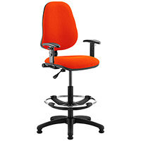 Eclipse I Lever Task Operator Office Chair Pimento Rustic Orange With Height Adjustable Arms & Draughtsman Kit