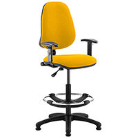 Eclipse I Lever Task Operator Office Chair Sunset Yellow With Height Adjustable Arms & Draughtsman Kit