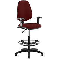 Eclipse I Lever Task Operator Office Chair Chilli Red With Height Adjustable Arms & Draughtsman Kit