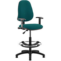 Eclipse I Lever Task Operator Office Chair Kingfisher Green With Height Adjustable Arms & Draughtsman Kit