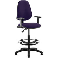 Eclipse I Lever Task Operator Office Chair Purple With Height Adjustable Arms & Draughtsman Kit
