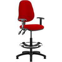 Eclipse II Lever Task Operator Office Chair Cherry Red With Height Adjustable Arms & Draughtsman Kit