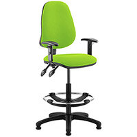 Eclipse II Lever Task Operator Office Chair Swizzle Green With Height Adjustable Arms & Draughtsman Kit