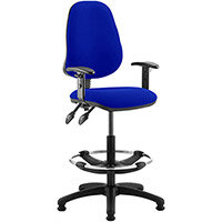 Eclipse II Lever Task Operator Office Chair Serene Blue With Height Adjustable Arms & Draughtsman Kit