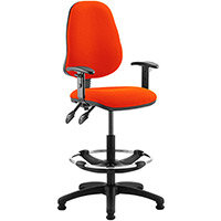 Eclipse II Lever Task Operator Office Chair Pimento Rustic Orange With Height Adjustable Arms & Draughtsman Kit