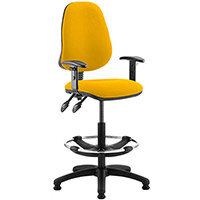 Eclipse II Lever Task Operator Office Chair Sunset Yellow With Height Adjustable Arms & Draughtsman Kit