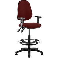 Eclipse II Lever Task Operator Office Chair Chilli Red With Height Adjustable Arms & Draughtsman Kit