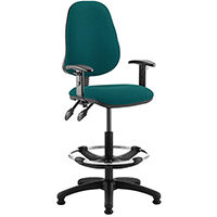 Eclipse II Lever Task Operator Office Chair Kingfisher Green With Height Adjustable Arms & Draughtsman Kit