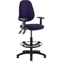 Eclipse II Lever Task Operator Office Chair Purple With Height Adjustable Arms & Draughtsman Kit