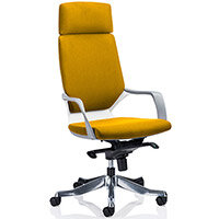 Xenon White Frame High Back Executive Office Chair With Headrest Sunset Yellow