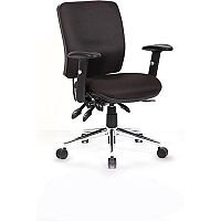 Chiro Medium Back Task Operators Office Chair Black With Arms, Gas lift tested up to 150kg, 3 Lever Mechanism, Usage: Task 24/7, Adjustable Pump up Lumbar, Colour: Black