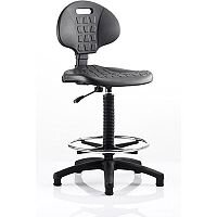 Malaga Draughtsman Task Operator Chair Black Polyurethane Seat And Back Without Arms