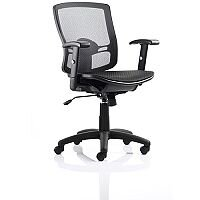 Palma Task Operator Office Chair Black Mesh Back Black With Arms