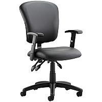 Toledo Task Operator Office Chair Black Leather With Arms