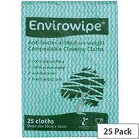 Envirowipe Antibacterial Colour Coded Cleaning Cloths 25 Pack EWF152