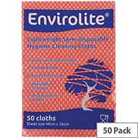 Envirolite 480x360mm Red Lightweight All Purpose Cloths 50 Pack ELF500