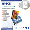 Epson A3 Matte Archival Inkjet Printer Paper 192gsm (Pack of 50) Ref C13S041340