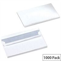 5 Star Office White DL Envelopes Self Seal Wallet 90gsm Pack of 1000