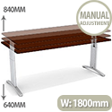 Flex R Height-Adjustable Rectangular Desk 1800x800x640-840mm Walnut