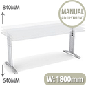 Flex R Height-Adjustable Rectangular Desk 1800x800x640-840mm White