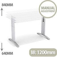 Flex R Height-Adjustable Rectangular Desk 1200x800x640-840mm White