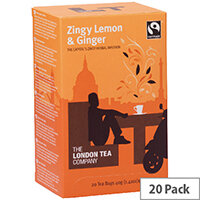 London Tea Zingy Lemon and Ginger Tea Pack of 20 FLT0003