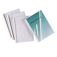GBC Thermal Binding Covers 4mm Front PVC Clear Back Gloss A4 White Ref IB370038 Pack 100