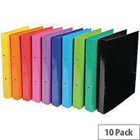 Iderama A4 Binder 2 Ring 30mm Assorted Colour Pack 10 Water & Tear Resistant, Plastic & Pressboard Design, Large 250 Sheet Paper Capacity