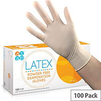 McKinnon Latex MEDIUM Disposable Gloves Powder-Free (100) Box GL100M