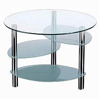 Circular Glass & Chrome Coffee Table