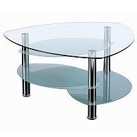 Triangular Clear Glass & Chrome Coffee Table