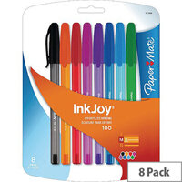 Papermate Inkjoy 100 Stick Ballpoint Pen Assorted Pack of 8 1927074