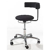 Saturn Ergonomic Stool With 360° Swivel Back-Arm Rest Imitation Leather Black H400 - 530mm