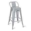 Paris High Outdoor Stool With Back Gunmetal
