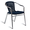 Aluminium Frame Blue Wicker Outdoor Stacking Arm Chair
