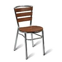 Nice Solid Teak Slatted Outdoor Stacking Side Chair With Aluminium Frame