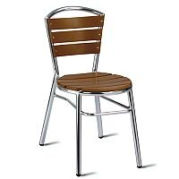 Nice Teak Effect Slatted Outdoor Stacking Chair With Aluminium Frame