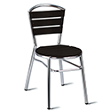 Nice Black Slatted Outdoor Stacking Side Chair With Aluminium Frame