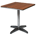 Monaco Square Solid Teak Slatted Outdoor Table With Aluminium Base