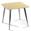 Milano Square Canteen Table Maple Top & Chrome Legs