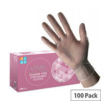 McKinnon Vinyl MEDIUM Disposable Gloves Powder-Free Non-Sterile (100) Box GV100M